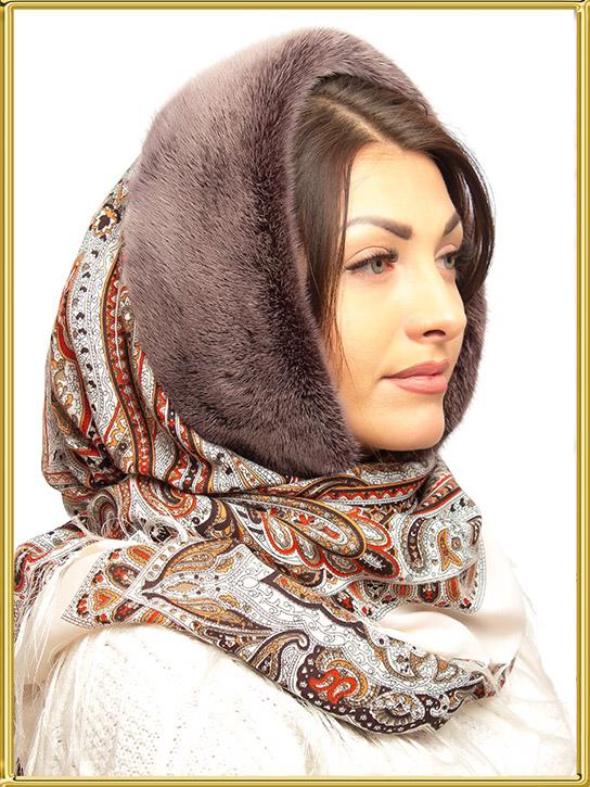 павлопосадский платок с мехом официальный интернет магазин