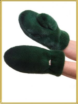 """Норковые рукавички """"Изумруд"""""""